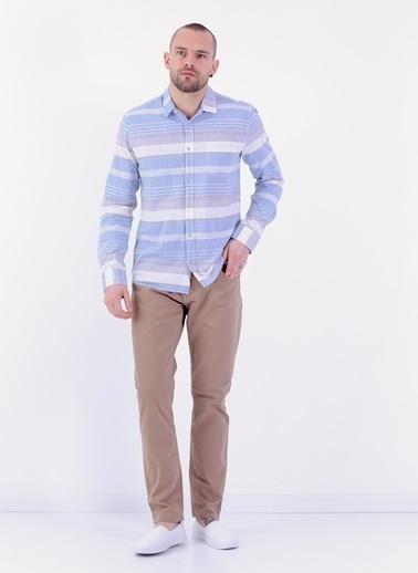 Cazador Slim Fit Uzun Kollu Desenli Gömlek Mavi